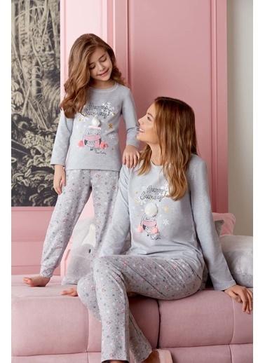 Pierre Cardin Pierre Cardin Kız Çocuk Pijama Takımı Grimelanj Gri
